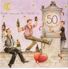 Rock Around The Clock At 50 Berni Parker Designs Card. £2.75 - FREE Postage!