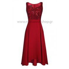 Φόρεμα σατέν μπορντοκόκκινο άνισο.