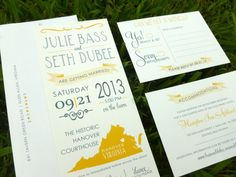 Wedding Invite - State Design - Destination Wedding - Map -Yellow - Banners - Tea Length Invitation - State Invitation - SAMPLE