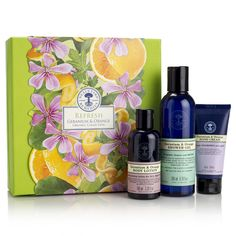 Refresh Geranium & Orange Organic Collection $48 This refreshing collection will put a spring in anyone's step! Uplifting organic geranium is infused with pure orange essential oil for natural vitality.   https://us.nyrorganic.com/shop/everygoodthing/area/shop-online/category/gifts/