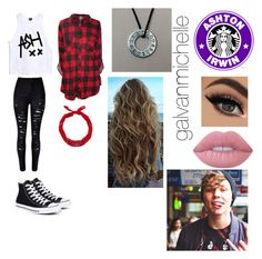 """""""Ashton Irwin Outfit"""" by galvanmichelle ❤ liked on Polyvore featuring WithChic, Converse, New Look and Lime Crime"""