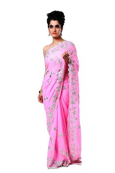 Ranas Woman Pure Georgette Pink Saree