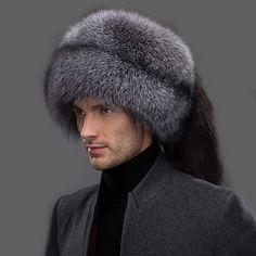 8c6029556e8c4 URSFUR Winter Mens Russian Ushanka Hat Real Leather   Fox Fur Trapper Cap