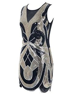 Emust Women's 1920s Vintage Paisley Art Deco Sequined Flapper Gatsby Dress - Sainaluv