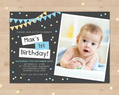 1st birthday invitation boys Digital File // by InkandCardDesigns