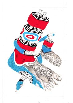 Red & Blue b/w Black & Grey - Paulo Albuquerque Loc Illustration