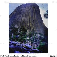 Dark Blue Sky and Ponderosa Pine at Devils Tower Puzzle