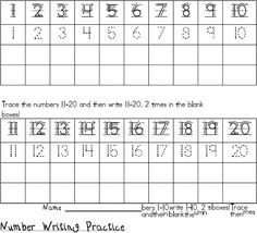 Worksheet 1-20 Number Writing Practice trace and write numbers 1 20 this practice page will allow for number writing note to self i have downloaded file