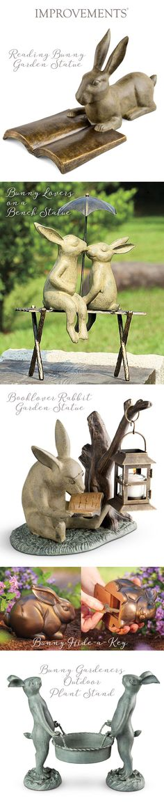 "Add some adorable to your outdoor greenery with these garden statues. They would be ""hoppy"" to add some personality to your plants! Whether they are reading a book, safely stowing your key, or holding your most prized plant, they are sure to look super cute mixed in with your flora and fauna. This collection starts at just $9.99. #SmallGardenIdeas #BackyardIdeas"