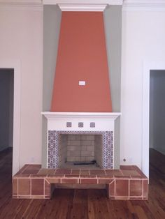 Andalucia 6x6 and 3x6 Spanish tiles frame the firebox of this colorful design