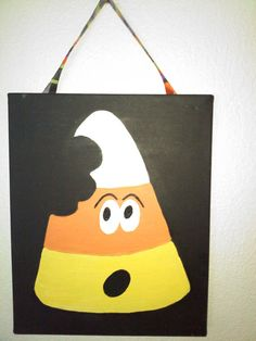 Items similar to CANDY CORN CONCERN super fun Halloween handpainted canvas that hangs on ribbon- Halloween Art- Wall Decor- Halloween Decor- Painting on Etsy Halloween Canvas Paintings, Fall Canvas Painting, Cute Canvas Paintings, Halloween Painting, Halloween Drawings, Autumn Painting, Canvas Art, Fall Paintings, Canvas Crafts