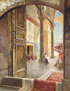 The Ommayad Mosque.  Artist Carl Wuttke (1849-1927).