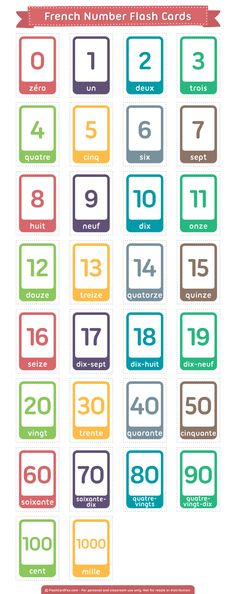 Free printable French number flash card for learning to count in French. Download them in PDF format at http://flashcardfox.com/download/french-number-flash-cards/