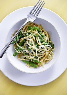 asparagus and arugula linguine.