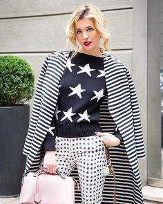#ElenaBarolo Elena Barolo: ~ Stars and bars. More on affashionate.com ~ #elenabarolo wears #maxmara total look, #fendi bag. Ph. @valentina.melzi
