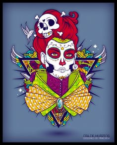 Dia De Muertos Vector Portrait Design Artwork