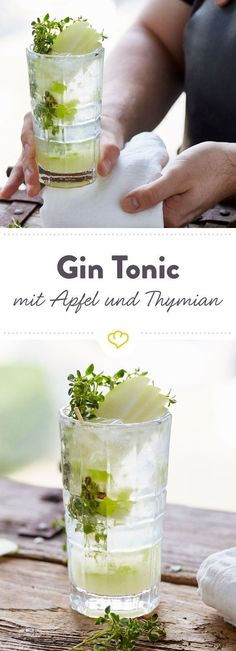 A really fresh alternative to the standard gin and tonic is this recipe with . - - A real fresh alternative to the standard gin tonic, this recipe with scrambled, crunchy apples and fragrant lemon thyme. Non Alcoholic Drinks, Cocktail Drinks, Cocktail Recipes Ginger Beer, Drink Recipes, Whiskey And Ginger Ale, Caramel Apple Sangria, Party Fiesta, Tequila Sunrise, Vegetable Drinks