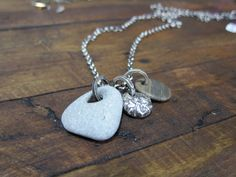 """Beach Stones with Recycled Sterling Silver """"Stone"""" on long oxidized sterling silver chain"""