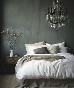 Contemporary Master Bedroom with Hardwood floors, West Elm Belgian Linen Duvet Cover - White, Chandelier