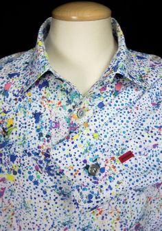 SIGNUM Mens Dress Shirt 19 XXL 2XL Multi Color Paint Spat Cotton LS Germany #Signum