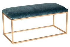 Block Velvet Bench, Jade Teal and Gold -- This luxurious modern bench features an open, clean-lined steel frame and plush, cushioned seat. The vivid jade upholstery pairs perfectly with the 18-karat gold-leaf finish of the base. Handcrafted in the USA.