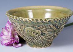Celadon Bowl Heart Bowl Green Celadon Love Dish Pottery