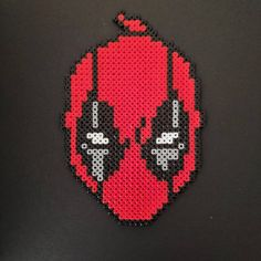Deadpool Bead Art Fridge Magnet Perler Bead Art, Perler Beads, Pixel Beads, Plastic Beads, Great Christmas Gifts, Pixel Art, Marvel Comics, Deadpool, Minecraft