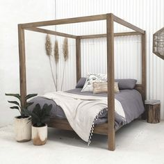 YAY Back in Stock now peeps 😀 is the absolutely stunning Aren Canopy Bed in Queen size. Each piece is made with recycled teak and is handcrafted which embraces the natural grain & texture of the wood. Just naturally beautiful 😍 Made in Java, Indonesia. BUY NOW & PAY LATER, with interest free payment options available. www.finditstyleithome.com.au #bedroominspo #canopybed #beachhouse #interiorblogger #interiors4all #interiorlovers #onlineshopping #finditstyleithome Wood Canopy Bed, Canopy Bed Frame, Canopy Beds, Modern Canopy Bed, Queen Canopy Bed, Master Bedroom Design, Bedroom Bed, Bedroom Decor, Bedroom Ideas