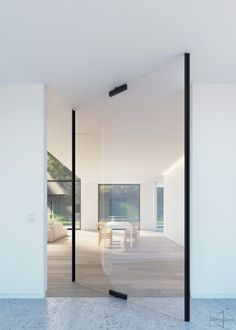 """Glass pivot door with central axis pivot point. The glass patch fittings are equipped with invisible """"Stealth Pivot"""" pivoting hinges."""
