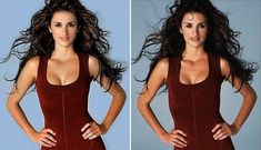 Photoshop's got to fix the fly-away hair and adjust the uneven breasts.  No wonder we feel such a pressure to look perfect all the time! Beyonce, Before And After Photoshop, Fly Away Hair, Photoshop Fail, Photoshop Tutorial, Celebrities Before And After, Penelope Cruz, Photo Retouching, Photoshop Retouching
