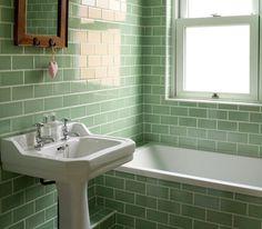 Green Bathroom Tiles Design - Are you in need of bathroom design ideas? 1930s Bathroom, Retro Bathrooms, Small Bathroom, Bathroom Ideas, Bathroom Vintage, Classic Bathroom, Bathroom Wall, Edwardian Bathroom, Brick Bathroom