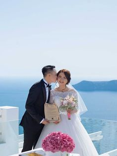 Pink theme with peonies and hydrangeas! From the intimate Santorini wedding of Leong and Jean Bridal Make Up, Wedding Make Up, Peonies And Hydrangeas, Santorini Wedding, Pink Themes, Real Weddings, Tulle, Wedding Dresses, Fashion