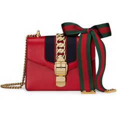 Gucci Sylvie leather mini chain bag ($1,691) ❤ liked on Polyvore featuring bags, handbags, shoulder bags, red, gucci handbags, red leather purse, mini shoulder bag, chain strap handbag and genuine leather handbags