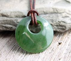 Canadian nephrite jade donut pendant on leather cord nephrite canadian nephrite jade go go donut pendant at thespiralriver aloadofball Image collections