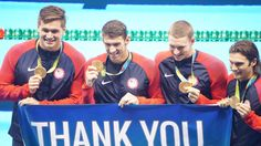Team USA's sign says 'Thank You, Rio!' ... At 31, MP will retire his swimming career for a 2nd time after swimming his last race propelling his team to another GOLD in IM, an Olympic Record, & his 23rd GOLD (28 overall). via NBC Olympics  ·   Rio de Janeiro, Brazil:     Thank you, Michael Phelps! #Rio2016