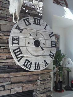 Spool Clock rustic wall clock industrial by HadleeRaeWoodDesigns