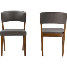 Toronto Side Chair | Joss & Main | Rubberwood frame and legs finished in walnut | Faux leather upholstery | Set of 2: $205
