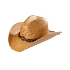Blazin Roxx Beaded Band Brown Raffia Straw Cowgirl Hat (40 CAD) ❤ liked on Polyvore featuring accessories, hats, cowboy hat, brown cowgirl hat, braid crown, brimmed hat and western style hats