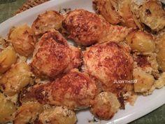 Tepsiben sült csirkecomb - fokhagymás, tejfölös, mustáros mártásban Sprouts, Cauliflower, Chicken, Vegetables, Health, Food, Health Care, Cauliflowers, Essen