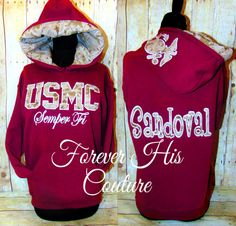 NEW ITEM at foreverhiscouture. USMC pullover with name lined in camo. (repin if your a proud milso, usmc gf, usmc wife)