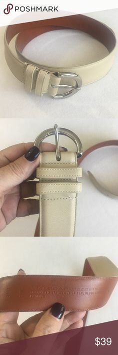 """Coach bone colored 1.5"""" wide belt Gently loved. About 38"""" long from end to end. More detail to follow. Coach Accessories Belts"""