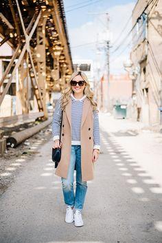 gucci disco bag, long camel wool vest, striped sweatshirt, vineyard vines boyfriend jeans, white adidas stan smith sneakers women waysify