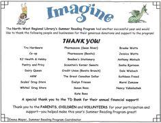 Merci aux sponsors dans la bibliothèque et le journal -  Notrthwest Regional Library, Swan River & Benito Branch MB
