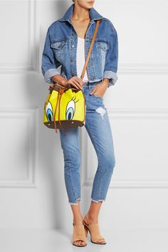 Moschino | Printed faux textured-leather shoulder bag | NET-A-PORTER.COM