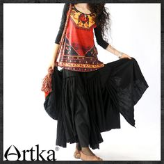 Artka Women's Spring New Vintage Ethnic High Quality Digital Print Chinese Loose Long Sleeve T Shirt 2 color A09130 Tutti-inT-Shirts from Apparel & Accessories on Aliexpress.com