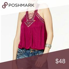 ❤❤HOST PICK❤❤ Free People Dakota Lace Up Top S NWT ❤❤HOST PICK❤❤COZY CASUAL HOST PICK 01/11/17 (THANK YOU @MIAS1965!!)❤❤  Free People Raspberry Color Dakota Embellished Lace Up Top Size Small NWT, Rayon, Machine Wash, Square Neckline With Lace Up Detail Front & Back, Tonal Leather Laces With Tassel Ends, Tiny Rivet-Like Metal Flowers Top A Combination Of Fabric Lace & Flowered Material To Embellish Top Middle Front, Straps Front & Back & Arm Holes, Lined, Bubble Hem, This Top Is Trendy…