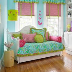 "these are the colors we are going for... would I be a horrible mom if I painted my girls room blue? and then the accents were in pinks and greens... not nearly as 'blue"" as this room because we'd do more pinks and some greens and few blues in the decor"
