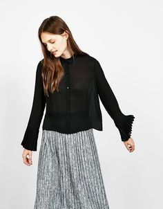 Meshed Frill Sleeve Shirt from Bershka £19,99