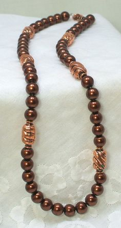 Chocolate Pearls and Copper Necklace by NewHopeBeads on Etsy, $39.00