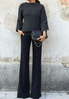 Super how to wear black pants work outfits grey Ideas - Work Outfits Women Office Fashion Women, Work Fashion, Womens Fashion, Trendy Fashion, Style Fashion, Black Pants Work, Black Pants Outfit Dressy, Dress Pants Outfit, Work Pants